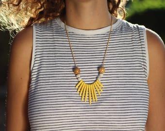 statement necklace, yellow beaded necklace, beads necklace, gift for her, colorful necklace, statement jewelry, beaded jewelry