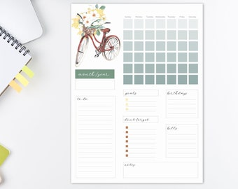 Editable Monthly and Printable Planner   Spring Planner   Letter Size Planner   Good Notes Template