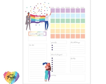 Pride Planner   Editable Monthly and Printable Planner   Letter Size Planner   Good Notes Template