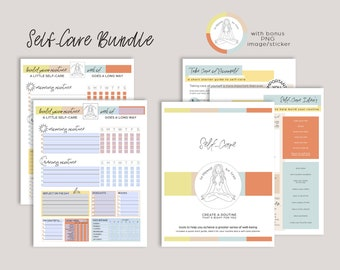Self Care Guide and Planner Bundle   Editable Self Care Planner   Goodnotes Wellness Planner