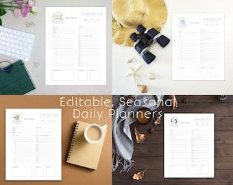 Editable Modern Daily Planner   Printable Minimal Daily Planning Page  Summer Planner   Spring Planner   Fall Planner   Winter Planner