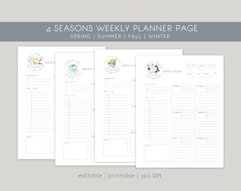 Editable Modern Weekly Planner   Printable Minimal Weekly Planning Page  Summer Planner   Spring Planner   Fall Planner   Winter Planner