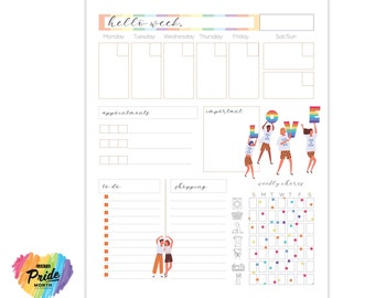 Pride Planner   Editable Weekly and Printable Planner   Letter Size Planner   Good Notes Template
