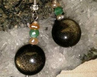 Sterling Earrings with gold-sun obsidian, chrysoprase and pearl ~ Protective and creative stone!