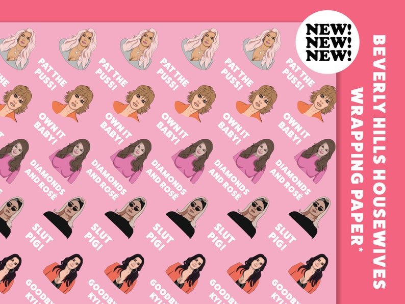 1 Sheet Folded Real Housewives of Beverly Hills Wrapping Paper