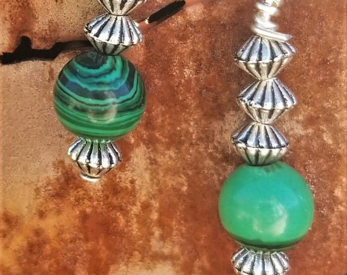 24-Malachite Beaded Earrings