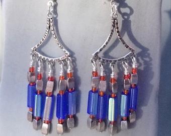 Blue Chandelier Earrings