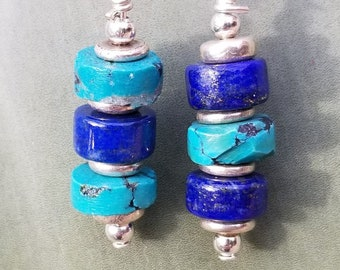69-Nacazarri Turquoise & Blue Lapis Earrings