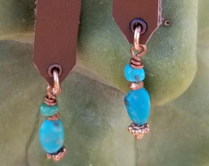 """3"""" Kingman Turquoise & Leather Earrings"""