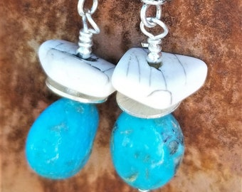 69-Kingman Turquoise And Bone Earrings