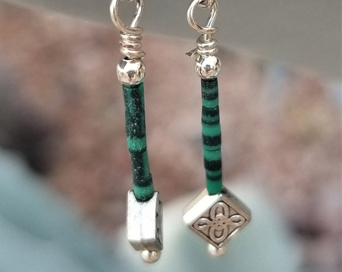29-Malachite And Silver Earrings