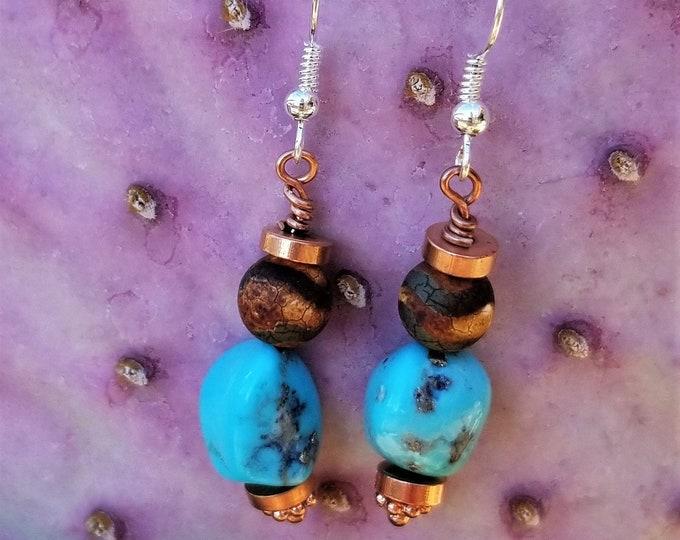 Kingman Turquoise & Copper Earrings