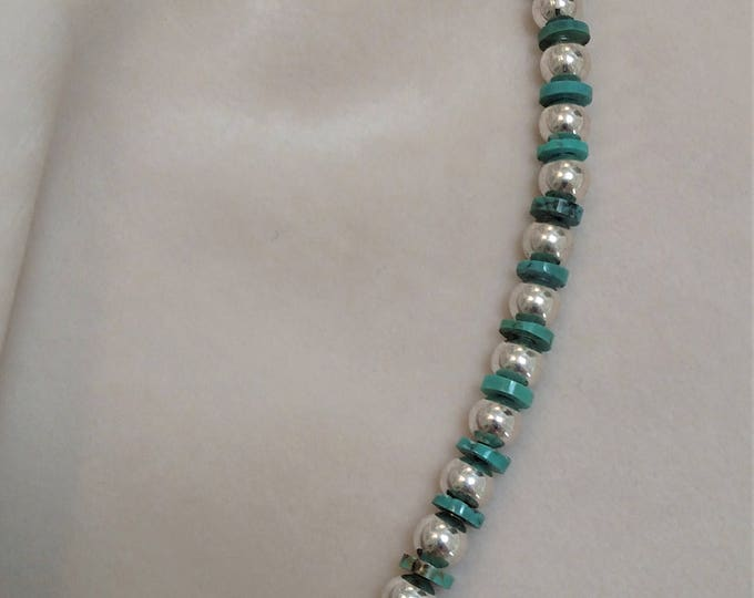 Turquoise and Silver-toned Bracelet