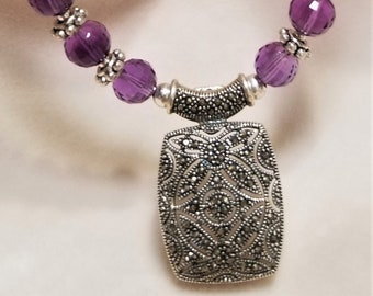 "17"" Amethyst And Marcasite Necklace"