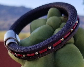 """7-1/2"""" Leather & Red Coral Bracelet"""
