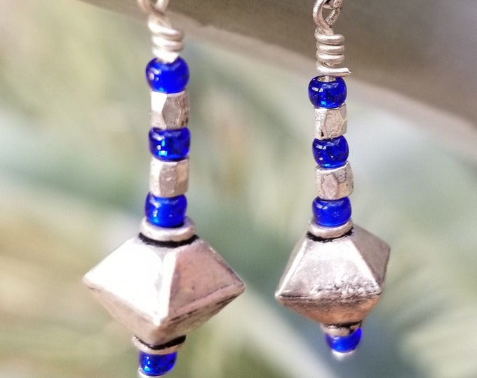 72-Silver & Blue Earrings