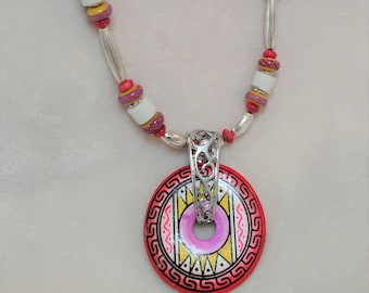 "Colorful Peruvian Disc 19"" Choker"