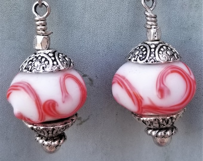 31-Coral Porcelain Beaded Earrings