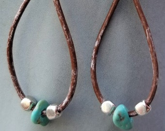 "2-1/4"" Leather & Turquoise Earrings"