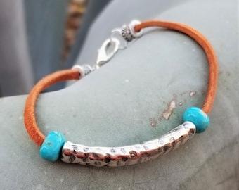 Kingman Turquoise & Leather Bracelet