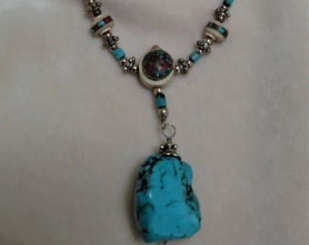 "Turquoise 32"" Necklace with Bone Beads"