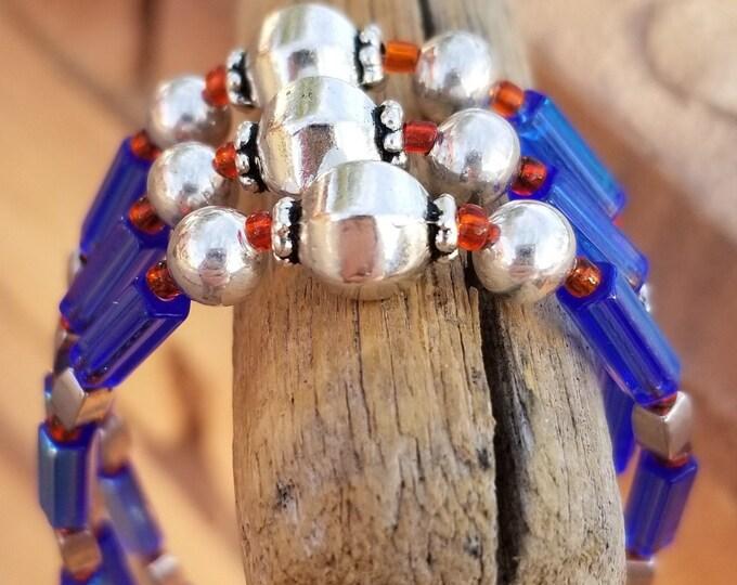 """Blue 3-strand 7-1/2"""" Bracelet"""