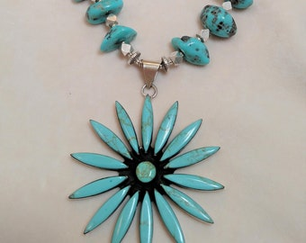 "Spectacular 30"" Kingman Turquoise Necklace"