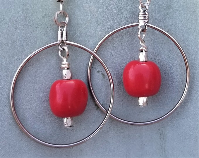 6-Red Drop Hoops Earrings