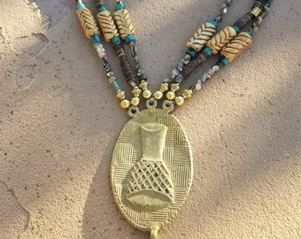 3-Strand Turquoise & Heishi Bead Tribal Necklace