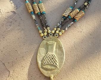 3-Strand Turquoise & Heishi Bead Tribal Necklace