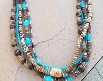 Castle Dome Turquoise & Leather Necklace