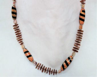 "Fun Wooden Beaded 31"" Necklace"