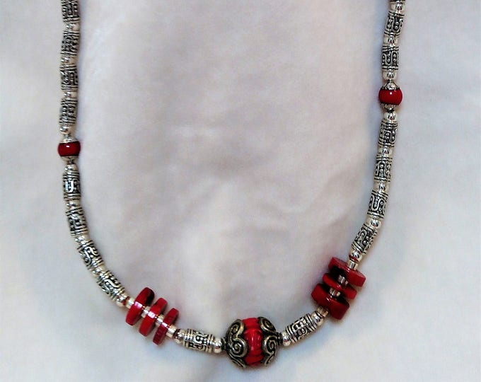 "Coral and Silver-toned 26"" Necklace"