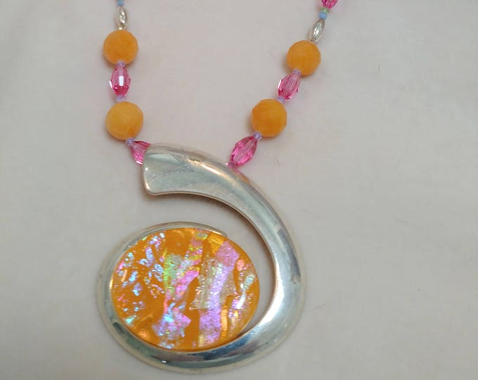"""Silver and Opalescent Resin 27"""" Necklace"""