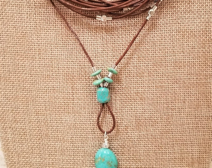 """15""""-18"""" Campo Frio Turquoise & Leather Necklace"""