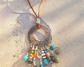 """28"""" Leather & Copper Necklace"""