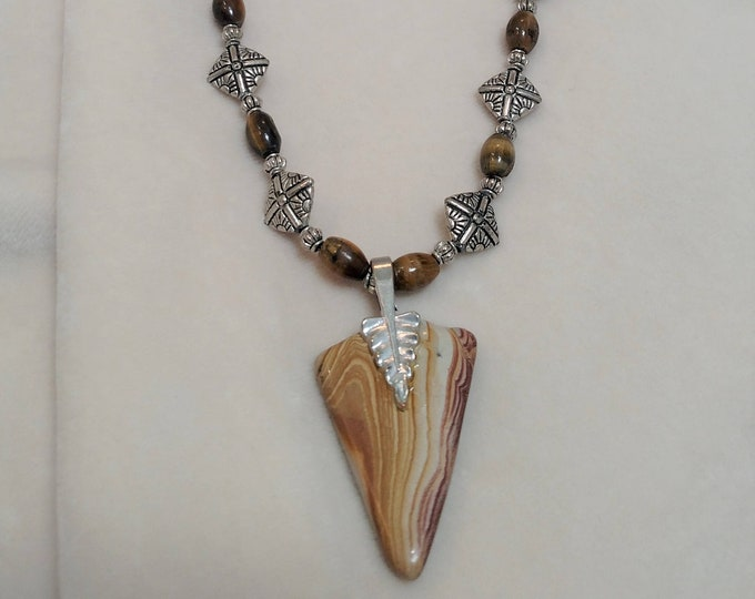 "Striated Stone and Tiger Eye 26"" Necklace"