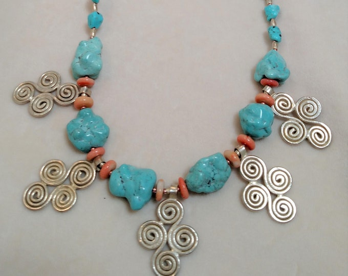 "29"" Sleeping Beauty Turquoise and Silver Necklace"