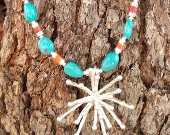 "23"" Sleeping Beauty Mined Turquoise Starburst Necklace"
