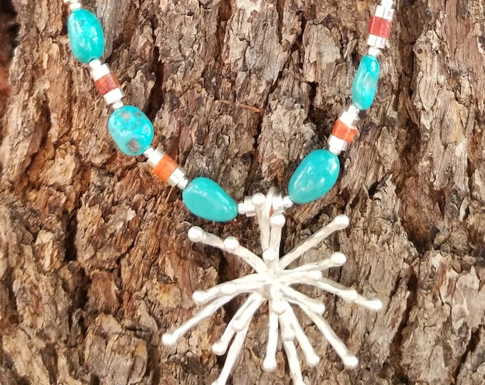 "23"" Sleeping Beauty Mined Turquoise Starburst Necklace"
