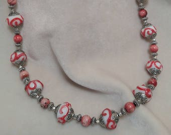 """Coral Porcelain Beaded 30"""" Necklace"""