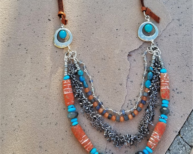 Kingman Turquoise & Leather Necklace