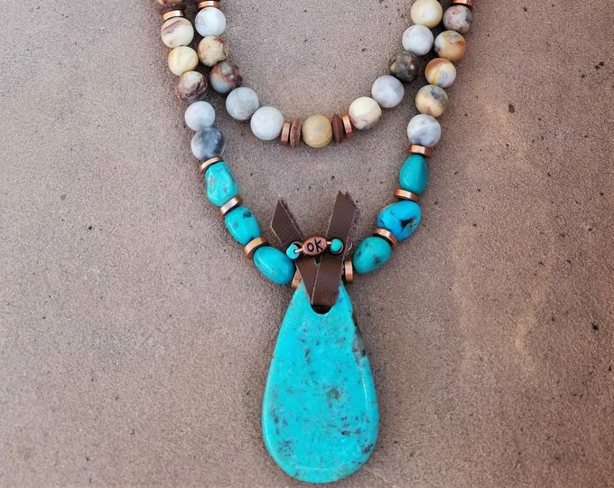 """26"""" Kingman Turquoise, Leather & Picture Jasper 2-Strand Necklace"""
