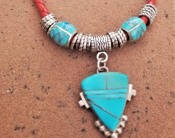 "19"" Leather & Turquoise Arrowhead Choker"