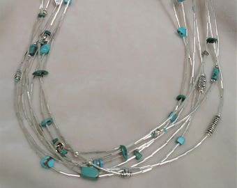 "Multi-Strand Silver and Turquoise 26"" Necklace"