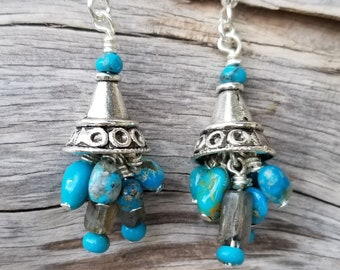 "1-1/2"" Long Castle Dome Turquoise & Labradorite Earrings"