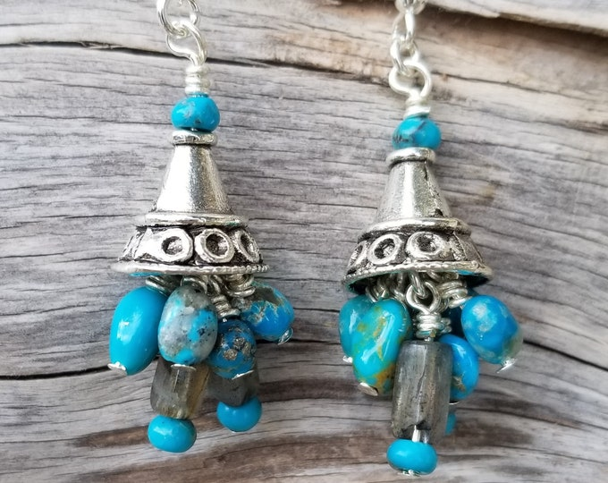 "1-1/2"" Long Castle Dome Turquoise & Labradorite Earrings"