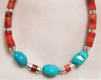 "8"" Sleeping Beauty Turquoise And Red Jasper Bracelet"