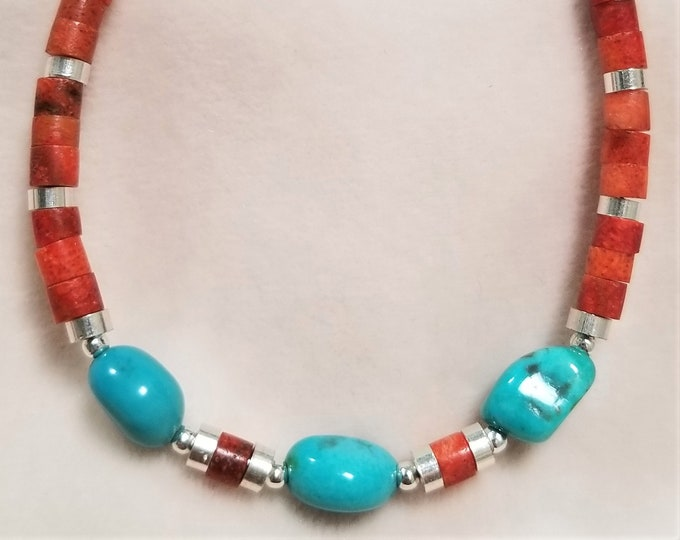 "8"" Sleeping Beauty Turquoise And Red Jasper Bracelet"