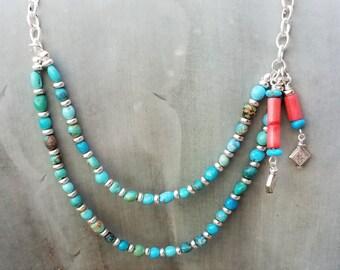 "20"" Kingman Turquoise 2-Strand Necklace"